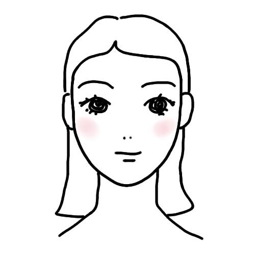チークの入れ方 顔型別 たまご型